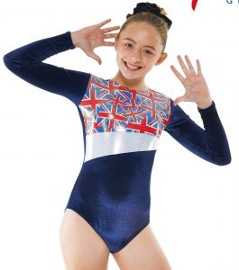 Gym26 navy and silver union flag gymnastic leotard