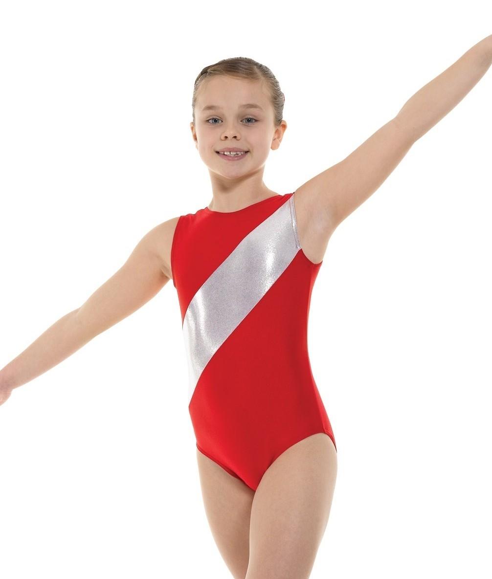 Nylon Lycra And Shine Sleeveless Gymnastic Leotard