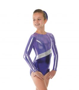 GYM10 Sugar Plum Lilac Platinum Shine gymnastic leotard