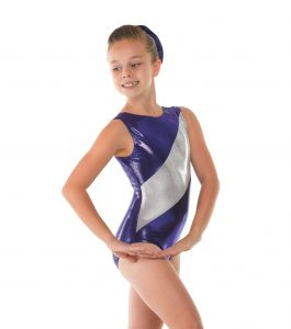 Sugar Plum and Platinum Shine sleeveless gymnastic leotard.