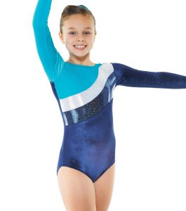 Gym16 navy kingfisher and silver Long Sleeve Gymnastic Leotard