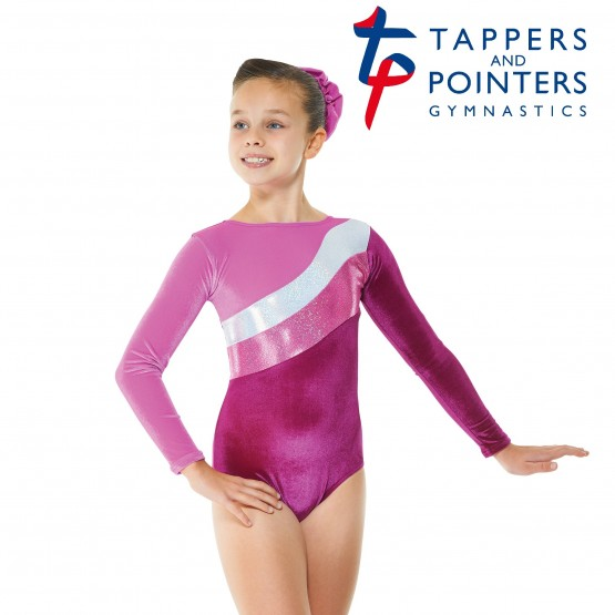 Cerise with cerise and silver foil long sleeve gymnastic leotard.