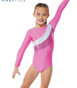 Lipstick pink and silver long sleeve gymnastic leotard.