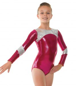 Tappers and Pointers Pomegranate with Platinum Shine Gymnastics Leotard.