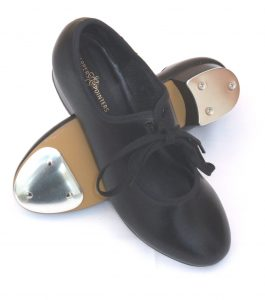 Black PU tap shoes with fitted toe and heel taps