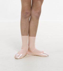 Pink nylon ballet socks.