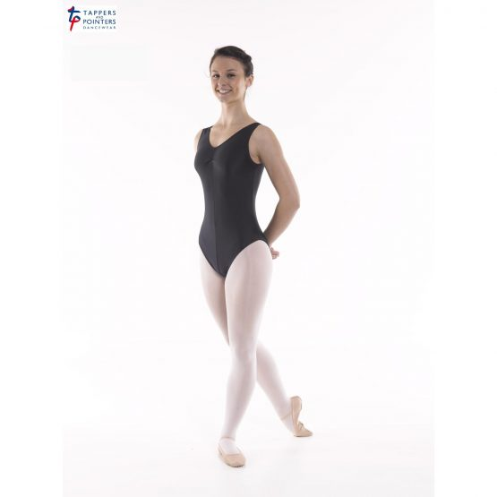 Angela Sleeveless Ballet Leotard Ruched Front Black