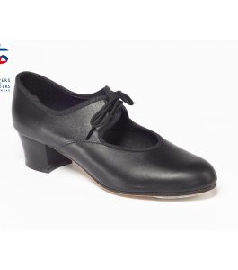 Black Leather Cuban Heel Tap Shoe