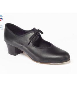 Black Leather Cuban Heel Tap Shoe