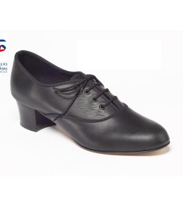 Black Leather Oxford Tap Shoe Cuban Heel