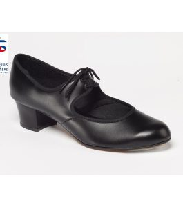 Black PU Cuban Heel Tap Shoe
