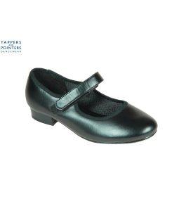 Black PU Tap Shoe Velcro Fitting Low Heel