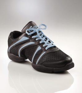Capezio Bolt Dance sneaker Black with Ice Blue detail