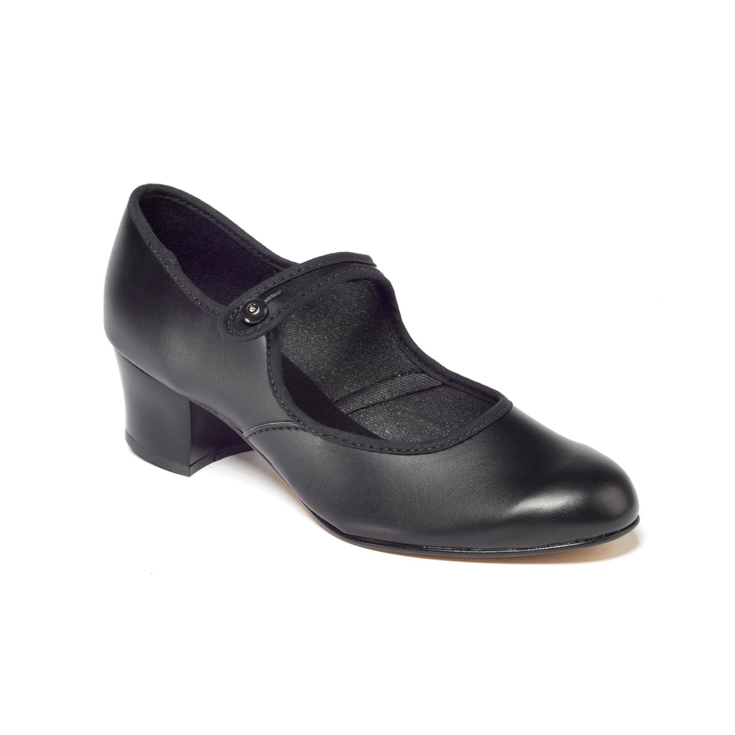 Ladies Size 3 Cuban Heel Black Character Shoes Button Bar