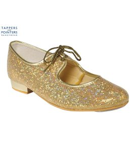 Gold Glitter Low Heel Tap Shoe