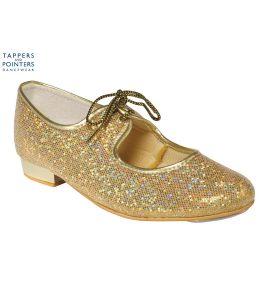 Gold Glitter Low Heel Tap Shoe