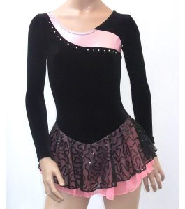 Jenetex Ally Skating Dress Black and Baby Pink Sparkle front