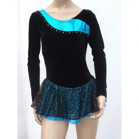 Jenetex Ally Skating Dress Black and Turquoise front