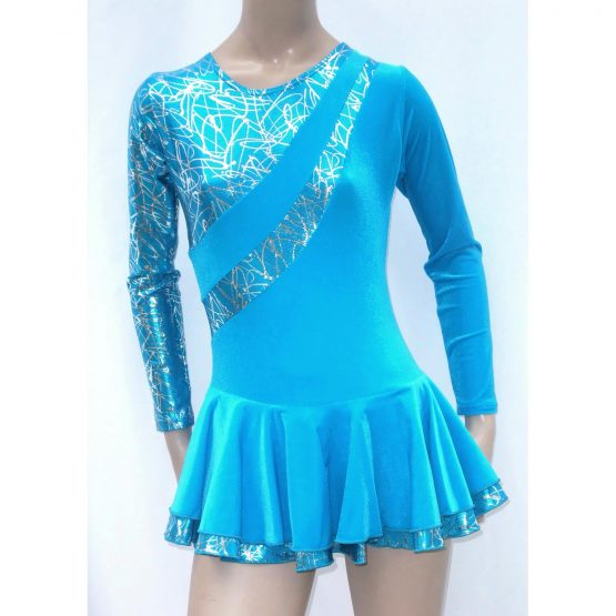 Malaga Turquoise Long Sleeve Skating Dress front
