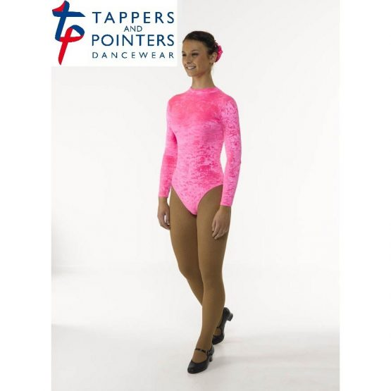 Long Sleeve Velvet Leotard with Keyhole Back