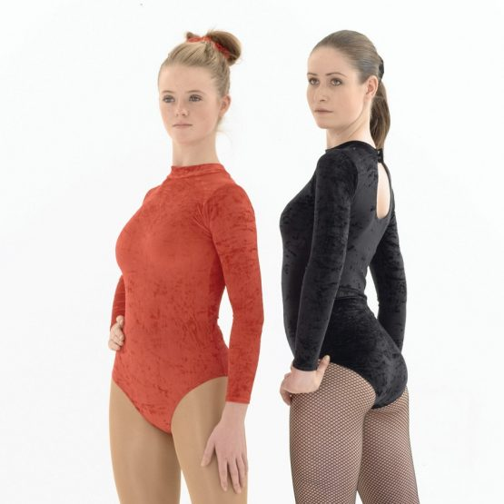 Long Sleeve Velvet Leotards with Keyhole Back