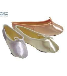 Pink, Ivory & White Satin Ballet bridesmaids Shoes