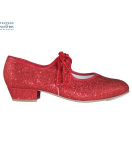 Ruby Red Glitter Low Heel Tap Shoe