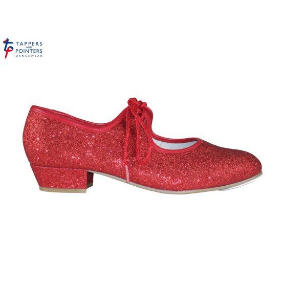Ruby Red Glitter Low Heel Tap Shoe