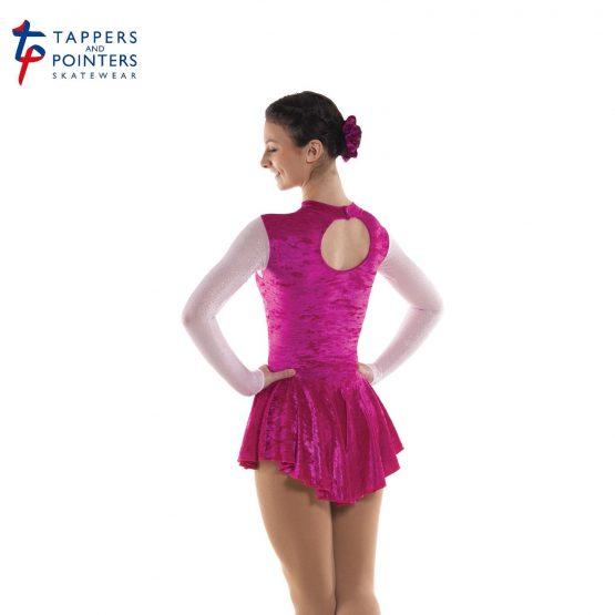 Tappers and Pointers Glittermist Skating Dress 3 in Cerise Velvet Lycra