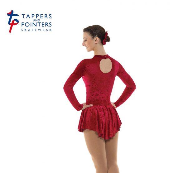 Skating Dress in Crimson Velvet Lycra back