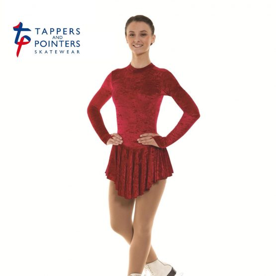 Skating Dress in Crimson Velvet Lycra front