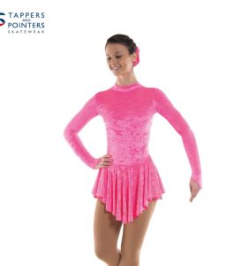 Skating Dress in Flo Pink Velvet Lycra