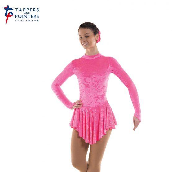 Skating Dress in Flo Pink Velvet Lycra