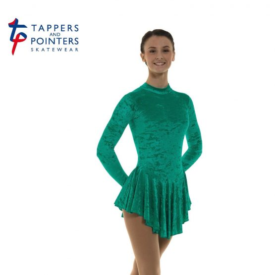 Skating Dress in Jade Velvet Lycra