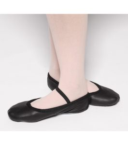 Tappers and Pointers Black Leather Ballet Shoes