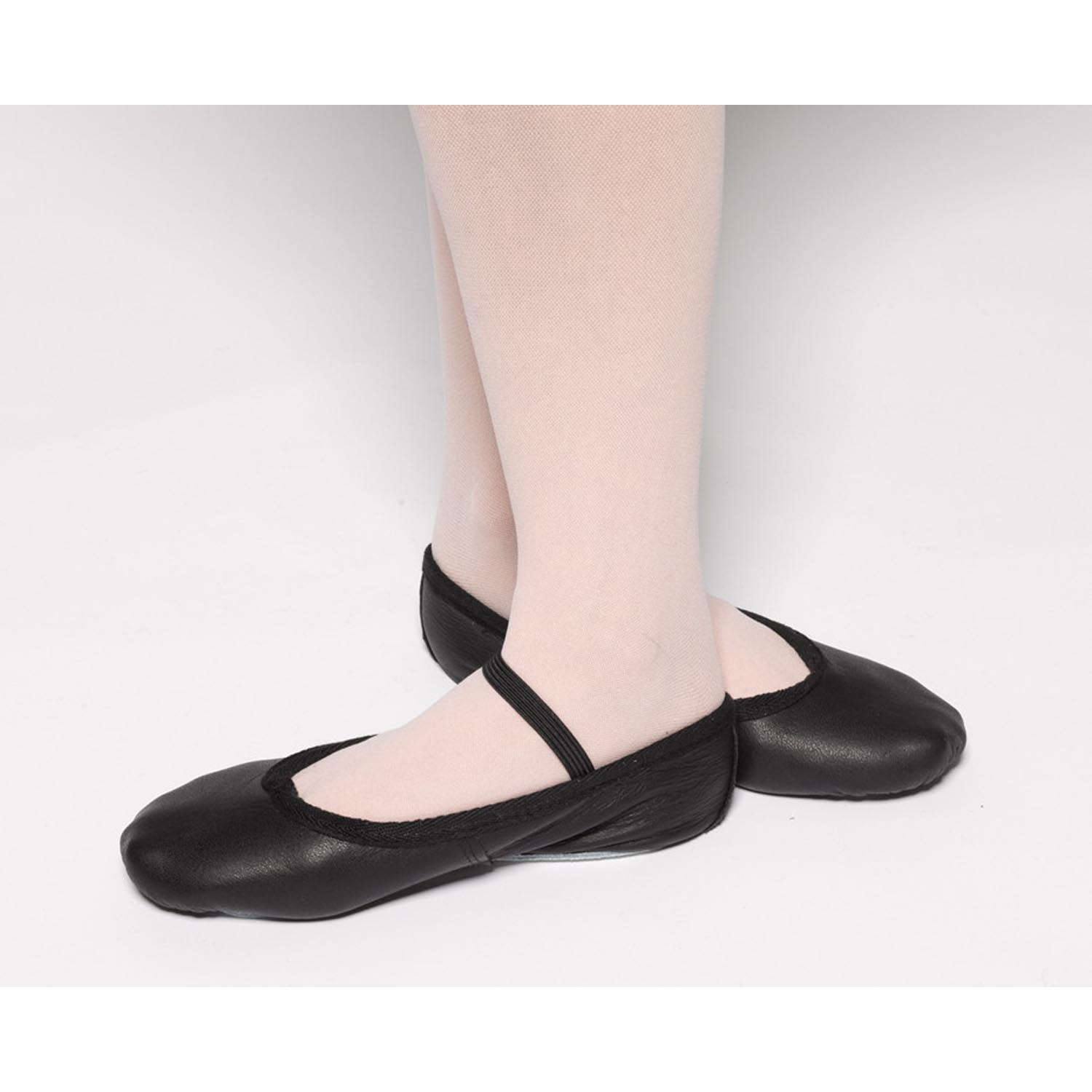 40779c7b9a207 Tappers and Pointers Elasticated Black Leather Ballet Shoes - Dancewear  Universe