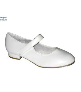 White PU Tap Shoes Velcro Fitting Low Heel