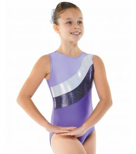 Gym 18 Purple Lilac and Silver Sleeveless Gymnastic Leotard