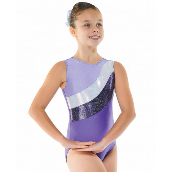 Gym 18 Purple Lilac and Silver Sleeveless Gymnastic Leotard