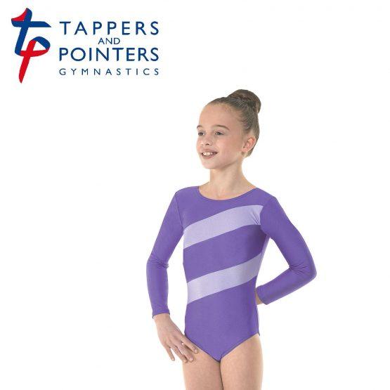 Gym 3 Lycra Stripes Gymnastic Leotard Purple and Lilac