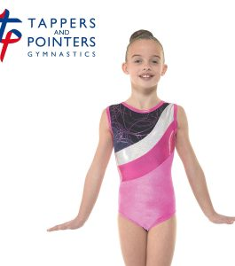 Gym 30 Electric Pink and Navy Hula Cerise Foil Gymnastic Leotard