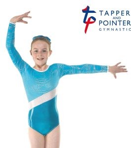 Gym 32 Turqoise Shine Kngfisher and Hula Silver Foil Gymnastic Leotard