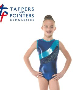 Gym 33 Amazon Shine Navy and Astro Aqua Foil Gymnastic Leotard