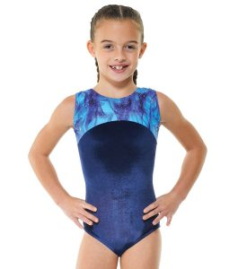 Gym 22 Navy and Silver Blue Galaxy Sleeveless Gymnastic Leotard