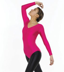 Long Sleeve Leotard Ruched Front