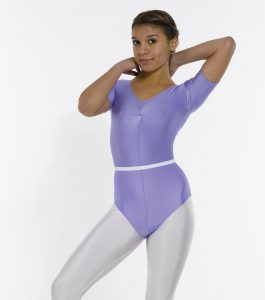 Short Sleeved Leotard Ruched Front