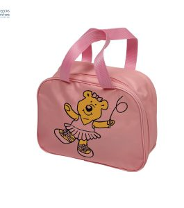 Square Dance Bag Pink with Bear Motif