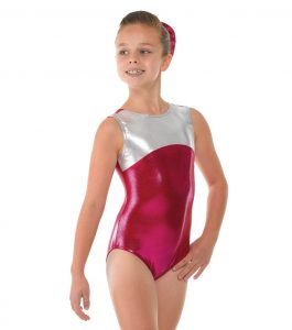 Tappers and Pointers Pomegranate and Platinum Shine Sleeveless Gymnastics Leotard