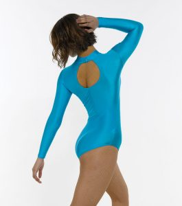 Turtle Neck Long Sleeve Leotard with Keyhole Back
