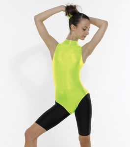 Turtle Neck Sleeveles Leotard with Keyhole Back